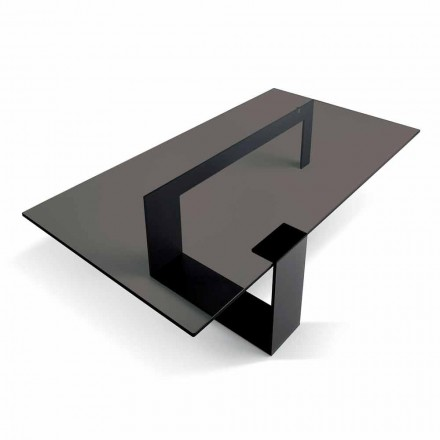 Mesa de centro moderna com tampo de vidro fumado e base de metal fabricada na Itália - Scoby