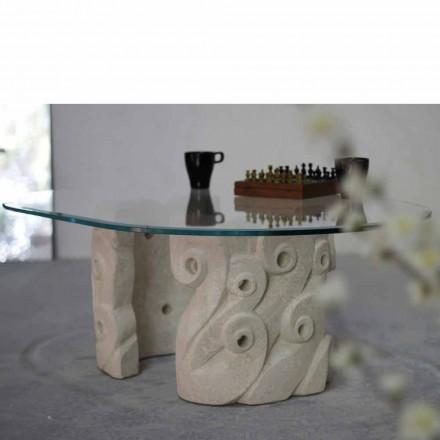 Mesa de café clássica feita de pedra natural Vicenza e cristal Lindos