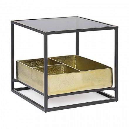 Mesa de centro quadrada Homemotion com tampo de vidro - Sigismondo