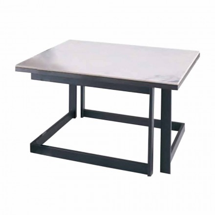 Mesa de centro quadrada em Gres com base de metal Made in Italy - Albert
