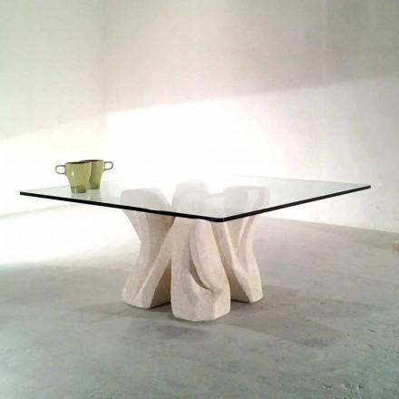 Mesa de centro quadrada de Vicenza de pedra natural com tampo de cristal Kos