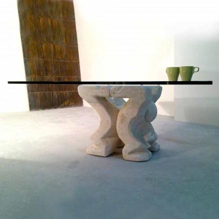Mesa de centro de pedra natural e cristal Vicenza Squared Medusa-S