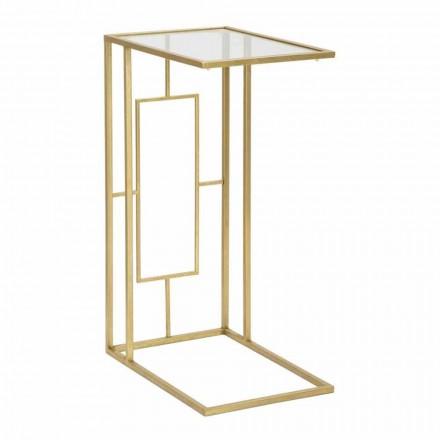 Mesa de centro retangular em ferro e vidro moderno - Albertino