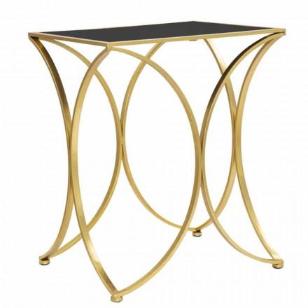 Mesa de jantar retangular moderna em ferro e espelho - Amice