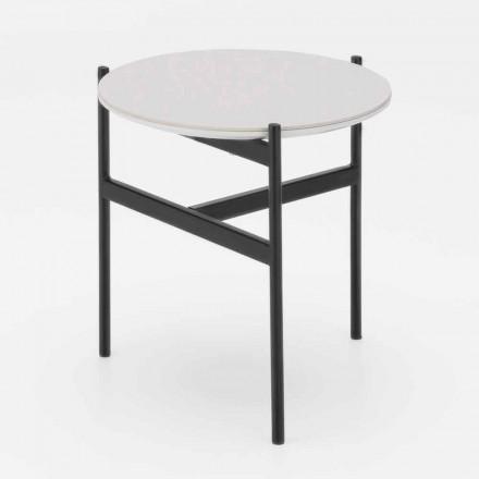 Mesa de centro redonda de metal e cerâmica com design moderno - Gaduci