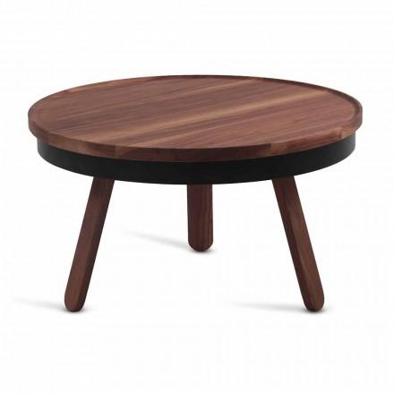 Mesa de centro redonda de design em madeira maciça e metal - Salerno