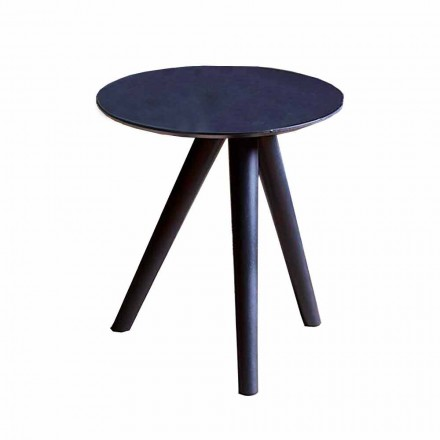 Mesa de centro redonda em madeira lacada cinza preto Made in Italy - Stuttgart