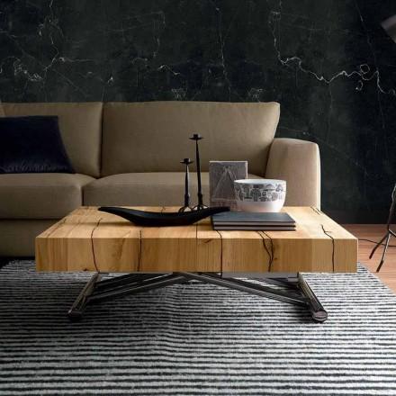 Mesa de centro transformadora em madeira maciça Made in Italy - Trabucco