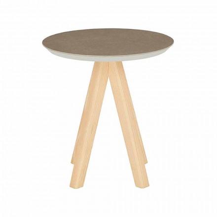 Mesa de centro redonda em madeira de freixo e tampo em cerâmica - Amerigo