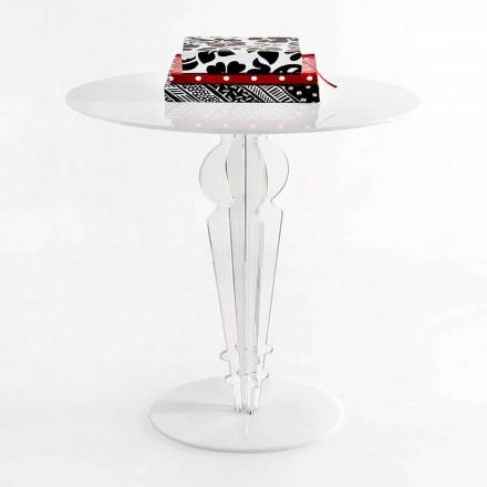 Mesa pequena de design clássico em cristal acrílico H 64 cm, Cles