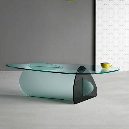 Mesa de centro design em vidro transparente, defumado e gravado fabricado na Itália - Tac Tac