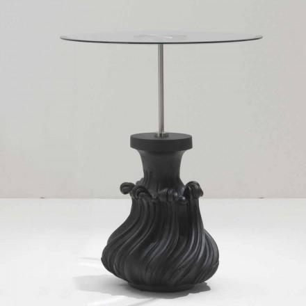 Mesa de centro Margo Ø 60 cm, cristal e madeira maciça jateada a preto