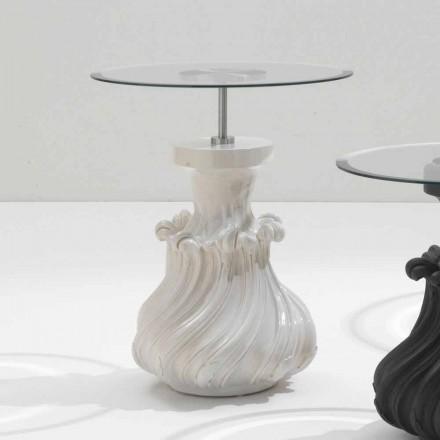 Mesa final design moderno Margo, Ø 60 cm, madeira maciça e cristal branco