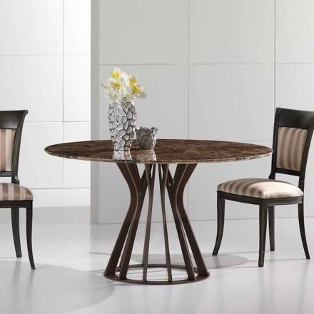 Mesa de jantar feita de mármore escuro emperador, design moderno, Cesare
