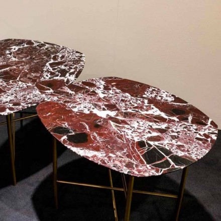 Mesa de design em mármore e metal vermelho Levanto, fabricada na Itália - Morbello