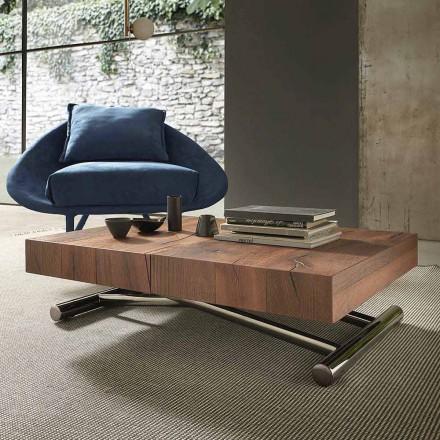 Mesa de centro transformavel moderna em madeira e metal, fabricada na italia - Spirit