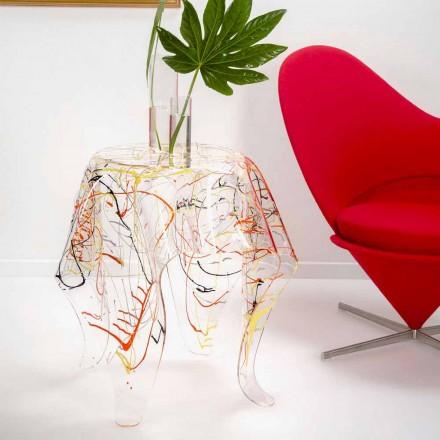 Mesa de café moderna multicolorida de plexiglass feita na Itália, Otto