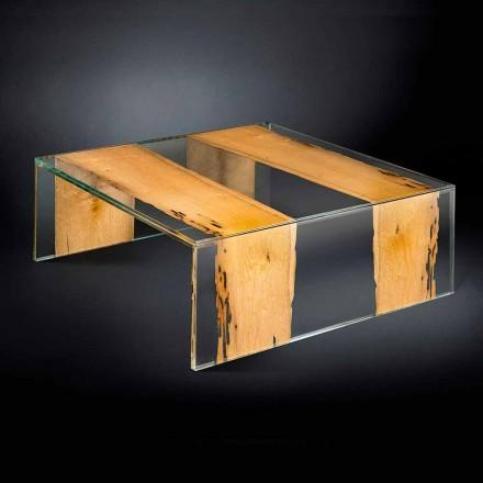 Mesa de centro quadrada de vidro e madeira Venezia