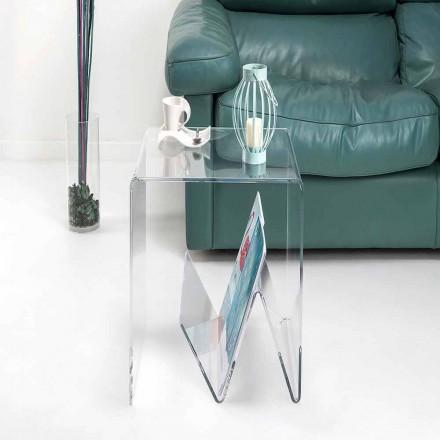 Design moderno pequena mesa / porta-revistas, em plexiglass, Cavour