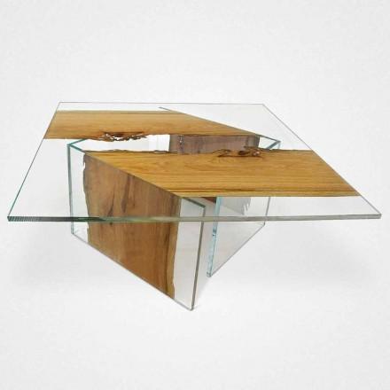 Mesa de café quadrada Laguna, feita de madeira e vidro Briccola