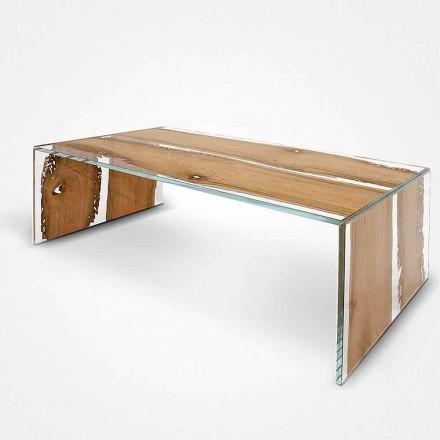 Mesa de café retangular Giudecca, fabricada em madeira de briccola veneziana