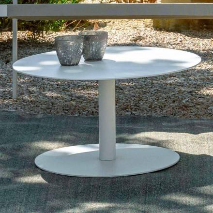 Mesa de centro redonda de jardim em alumínio branco ou carvão - Key by Talenti