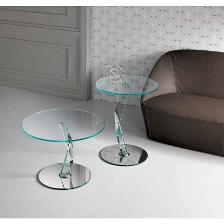 Mesa de centro de design redondo em vidro extra claro fabricada na Itália - Akka