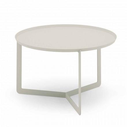Mesa de centro redonda ao ar livre em cânhamo ou metal de lama - Stephane
