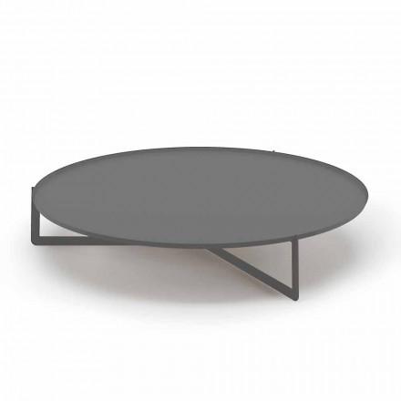 Mesa de centro redonda ao ar livre em metal de alta qualidade feito na Itália - Stephane