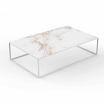 Mesa de centro moderna ao ar livre em alumínio e tampo com efeito de mármore - Suave by Vondom