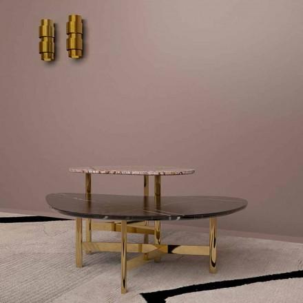 Mesa de centro de luxo em mármore preto ou marrom floresta fabricada na Itália - Manolo