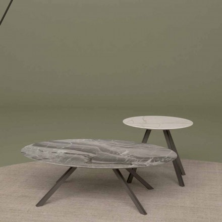 Lounge table em mármore Orobico ou Calacatta e Metal Made in Italy - Sirena
