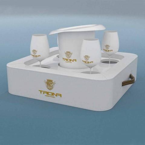 Mesa de centro - bandeja flutuante design faux leather náutico Trona