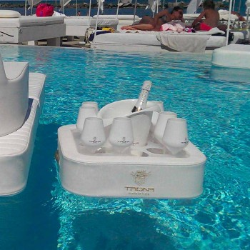 Mesa de café - bandeja flutuante de couro sintético e plexiglas náutico Trona