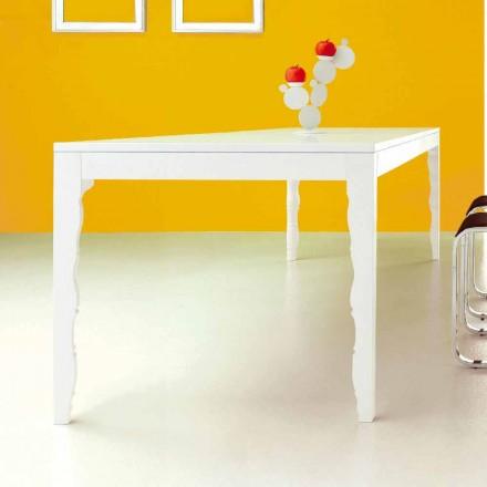 Mesa Extensível em Madeira Lacada Branca até 2,5m com Pernas Torneadas - Conceito
