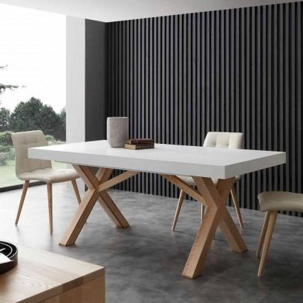 Mesa de jantar extensível branca Rico, com moldura de madeira maciça