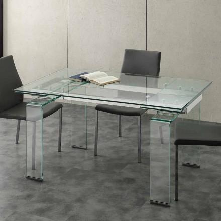 Mesa de jantar extensível moderna Senhor, com tampo de vidro temperado