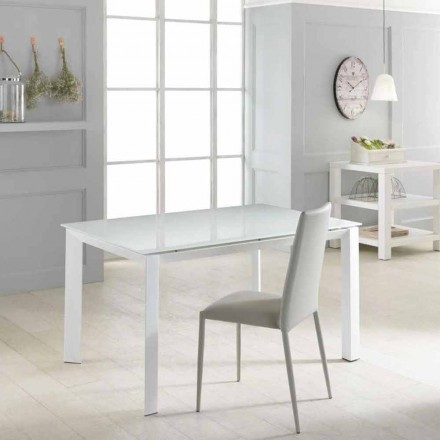 Mesa extensível de jantar Vinicio, com tampo de vidro temperado