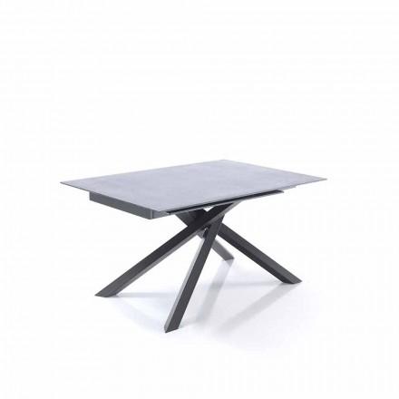 Mesa de jantar extensível em vidro e metal - Tristano