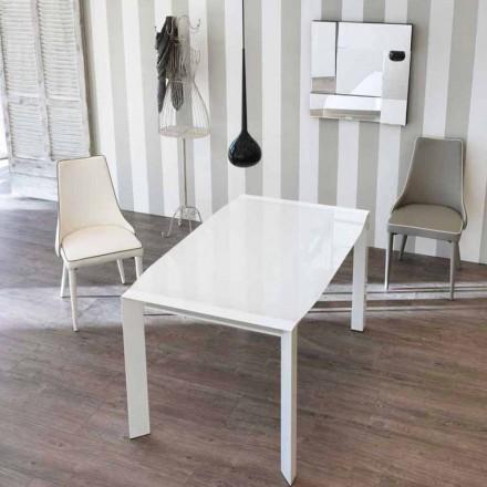 Mesa extensível Zeno, com tampo de vidro, design moderno