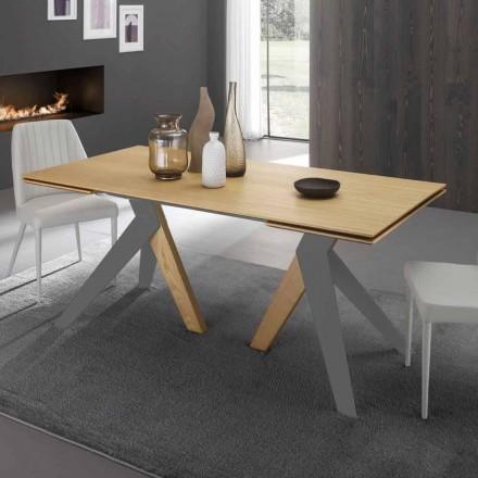 Mesa de jantar extensível com tampo em madeira de carvalho Daryl, fabricada na Itália