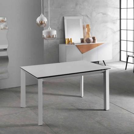 Mesa extensível moderna até 220 cm de cerâmica branca Nosate