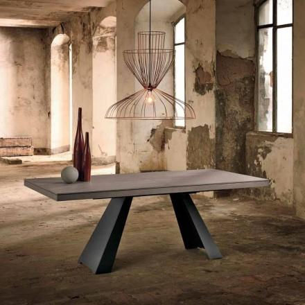 Mesa extensível de design em madeira de carvalho made in Italy, Zerba