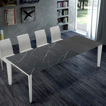 Mesa de cozinha extensível em mármore e aço fabricada na Itália - Settanta