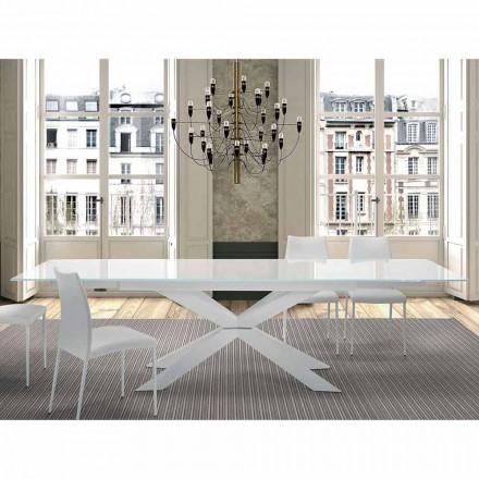 Mesa extensível até 300 cm em vidro e aço Fabricado na Itália - Grotta