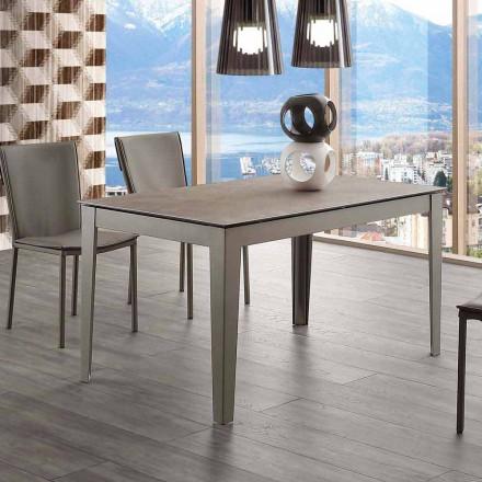 Mesa extensível de vidro-cerâmica e metal Cagliari até 380 cm