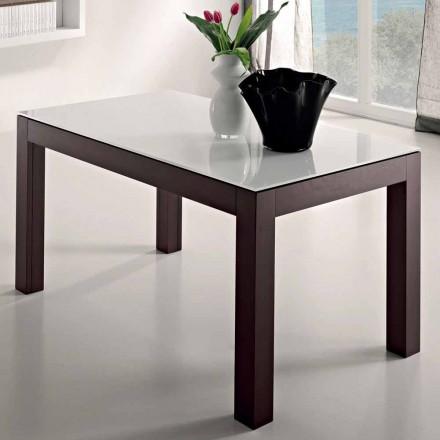 Mesa extensível até 270 cm em vidro e madeira de freixo Made in Italy - Homer