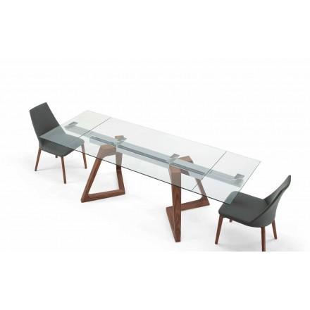 Mesa extensível de vidro e madeira venereed até 280 cm - Eugrafo