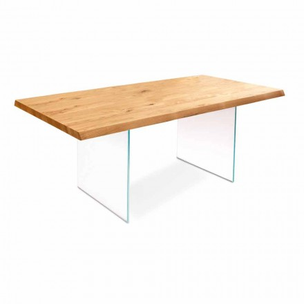 Mesa extensível em folheado de carvalho com pernas em vidro Nico