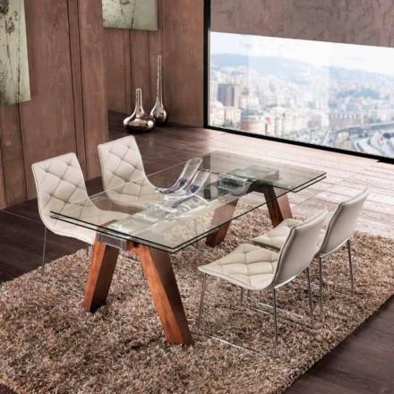 Mesa de jantar extensível em madeira maciça e vidro temperado Chade